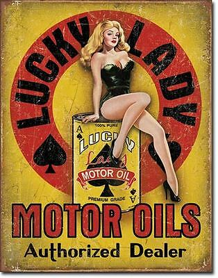 Lucky Lady Motor Oils Tin Sign Garage Shed Hotrod Ratrod Rustic