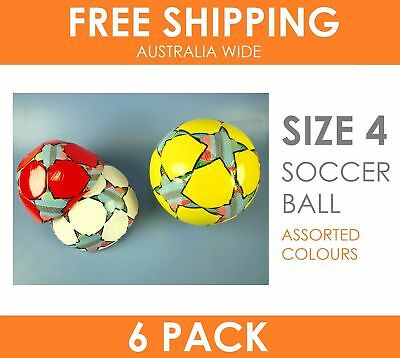 6 x Star Print Soccer Ball Size 4 in Assorted Colours - Extreme Value Pack