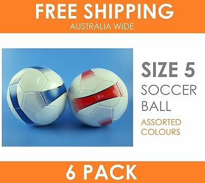6 x Soccer Ball Size 5 White with Blue & Red Stripe - Extreme Value Pack