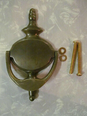 """Vintage Cast Brass Colonial Door Knocker With Screws 4"""" Wide X 7"""" Tall Patina"""