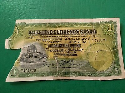 Palestine British mandate 1 pound 1939  see photos COMBINED SHIPPING