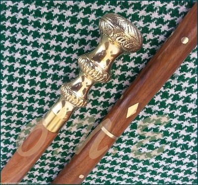 Antique Look Brass Designer Handle Walking Cane Stick Vintage Victorian Wooden