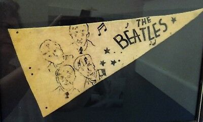 RARE Beatles Original Pennant From Shea Stadium August 15th 1961 Framed