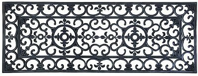Non Slip Rubber Mat Victorian Wrought Iron Effect Extra Large Rectangular Design
