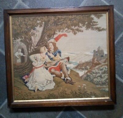 Vintage French Romantic Tapestry Embroidery Picture