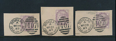 ISLE of MAN 1887 FULL DUPLEX CANCELS 3 DIFFERENT DATES in MARCH