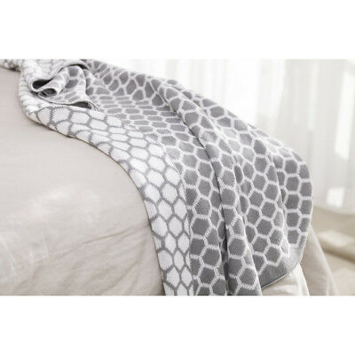 Home Knitted Blanket in Honeycomb Grey