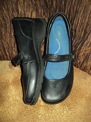 Colorado Black Leather Slip On Mary Jane Low Wedge Loafers - Size 10 .5 1/2 - 11