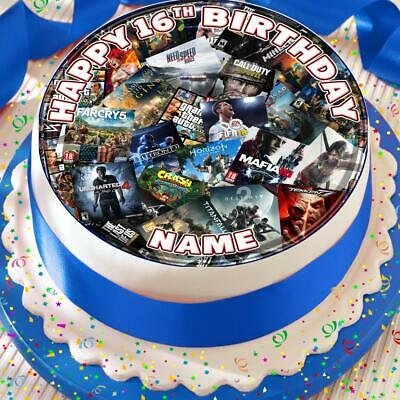 Gaming Console Mixed Games Personalised Precut Edible 7.5 Inch Cake Topper