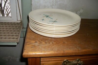 "Vintage Salem ""north Star "" Atomic Starburst  Set Of (8) Dinner-Plates"