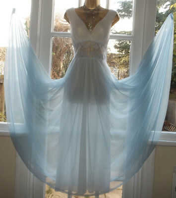 """Vintage 1970 Double Layered Nylon Lacy Grand Lavish Full Sweep Nightie Gown 36"""""""