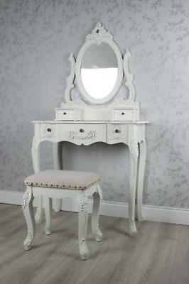 Shabby Chic French Style White Dressing Table Set With Mirror Stool Z895
