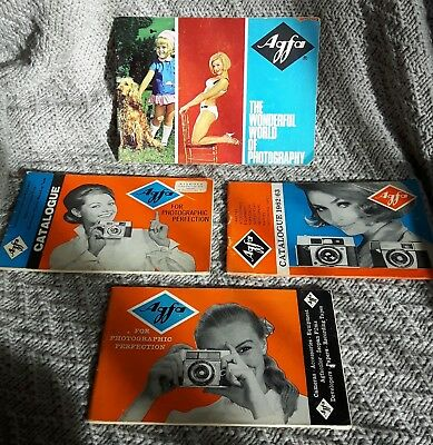 4 vintage Agfa cameras and photographic equipment catalogues 1960s retro