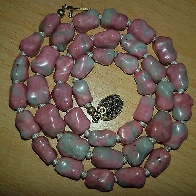 17# Old Antique Chinese Natural Jade? Necklace with Silver Clasp