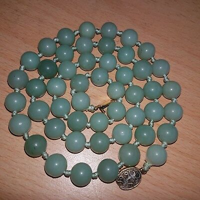 18# Old Rare Antique Chinese Natural Jade Necklace with Silver Clasp