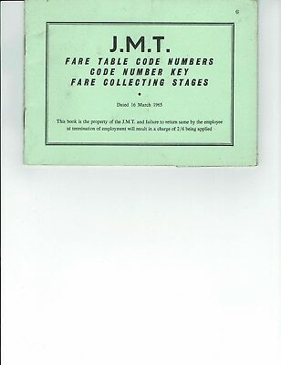 Ephemera Jersey, booklet of fare table code numbers,key.stages . J M T
