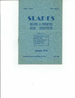 Ephemera Jersey, booklet of SLADES Bus Service Time Table  Summer 1937