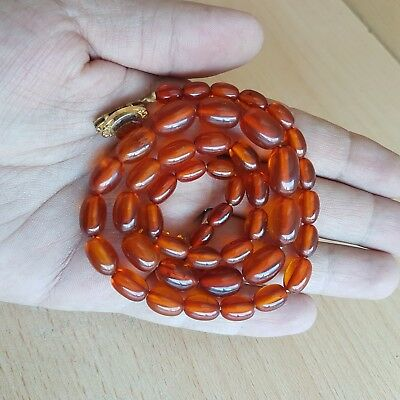 19# Old Vintage Chinese Natural Honey Amber Beads Necklace 17 Gr
