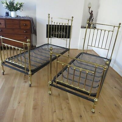 Very rare pair of antique Victorian brass 3ft x 6ft single beds.