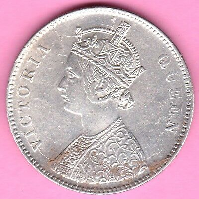 British India-1862-4 Dots Variety-One Rupee-Victoria Queen-Rarest Silver Coin-91