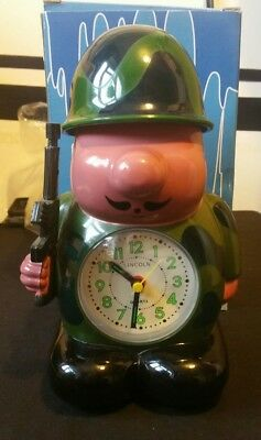 Lincoln Army Soldier Bugling Alarm Clock. Rare Novelty vintage Military not Ross
