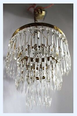 Pair Of French Vintage 3 Tier Chandeliers  Ceiling Lights Icicle Crystal