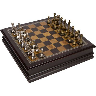 Classic Metal Chess Set Deluxe Wooden Storage Case NEW Wood Board BNIB