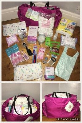 Pre Packed Luxury Maternity Newborn Hospital / Changing Bag, full size products.