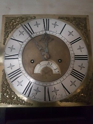 Antique English Carved Oak Longcase Clock Brass Dial 8Day Grandfather Clock
