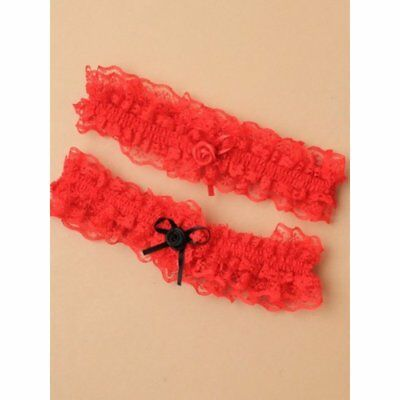 RED Lace Garter with Red/Black Satin Rose and Bow, Hen,Wedding Fun UK SUPPLIER