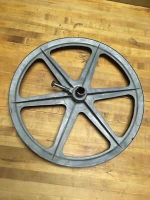"""Vintage Cast aluminum  Well Pulley Gear Wheel Antique Industrial Steampunk 12"""""""