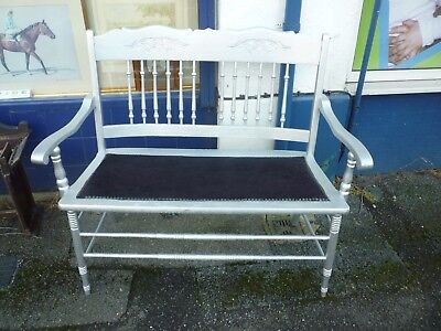 Very Nice Victorian Double Seat Sofa Refurbished In Silver And Black
