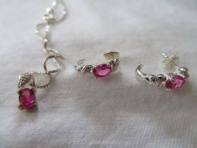 Pink Sapphire and Diamond Necklace and Earring Set in Sterling Silver