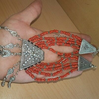 28# Old Antique Silver Yemenite Necklace with Old Natural Coral Beads 57gr