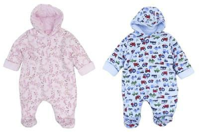 Baby Snowsuit All In One Soft Cotton Jersey  Boys and Girls Newborn 0-3m 3-6m