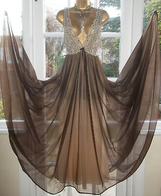 """Vintage 1970 Double Layered Nylon Lacy Grand Lavish Full Sweep Nightie Gown 40"""""""