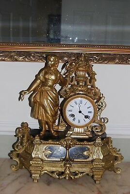 old french mantle clock with spelter figure of a maiden