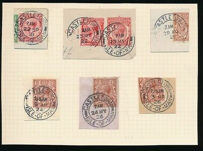 ISLE of MAN 1921-26 CASTLETOWN POSTMARKS DOUBLE RINGS on PIECE...6 ITEMS