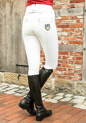 HKM PRO TEAM Riding Breeches - Mrs Blink White - Full Alos Seat