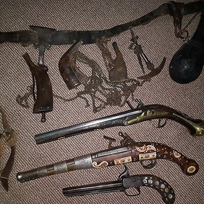 36# Old Rare Islamic Ottoman / Balkan / Persian Belt, 3 Flintlock, Powder Flask