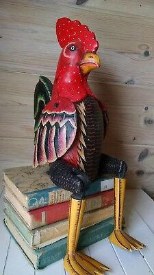 Rooster Chicken Folk Art Shelf Sitter Hand painted Carved Wood Large