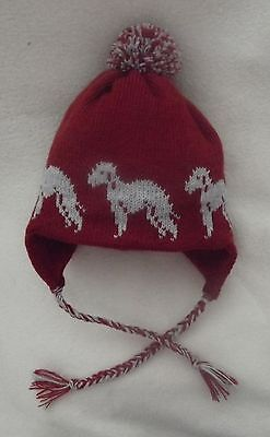 BEDLINGTON TERRIER dog NEW knitted lined RUST ADULT TRAPPER EAR FLAP HAT