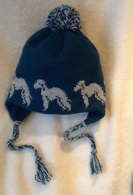 BEDLINGTON TERRIER dog NEW knitted lined BLUE ADULT SIZE  TRAPPER EAR FLAP HAT