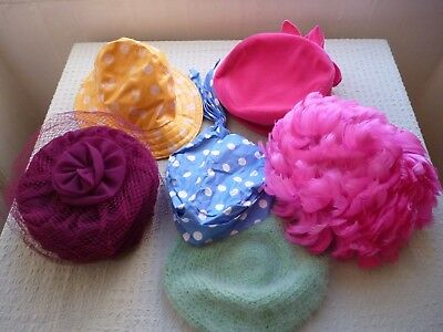 Lot of Original Vintage Hats 1950s 60s does 40s inc Pillbox Beret Feather Mod