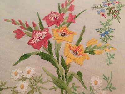Vintage Hand Embroidered Tablecloth EXQUISITE EMBROIDERY FLOWERING GLADIOLI