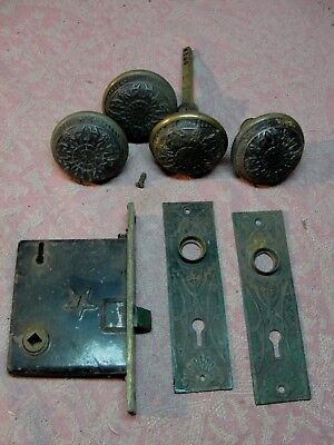 Antique Victorian Eastlake Style Cast Iron Door Knob Set Escutcheon & Mortise