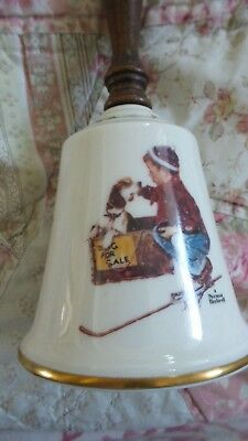 """Vintage Gorham 1979 Norman Rockwell Christmas Theme """"Boy Meets His Dog"""" Bell"""