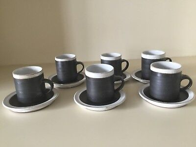 Briglin Pottery Coffee Cups, Saucers and Sugar Bowl