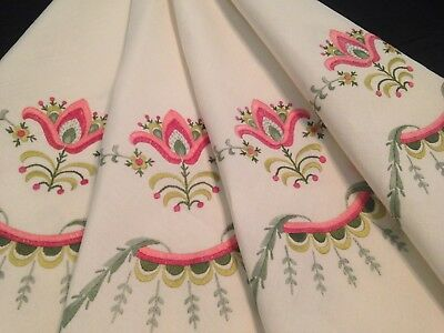 Vintage Hand Embroidered Cream Linen Tablecloth – Beautiful Florals