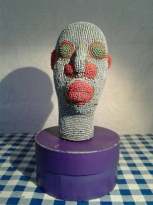 Beaded terracotta core African head sculpture